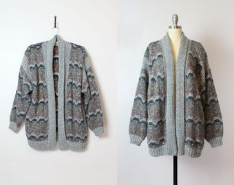 vintage 80s slouchy cardigan / 1980s oversized sweater coat / open cardigan / grey striped cardigan / wavy chevron knit sweater