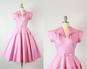vintage 50s dress / deadstock 1950s polished cotton dress / fit and flare rhinestone dress / pink sundress / Sweet Tooth dress