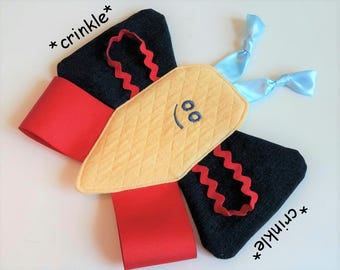 Butterfly Crinkle Lovey, Quilted Yellow, Red & Blue - FREE Shipping, Sensory Tag Toy, Made in USA, Baby Toddler Gift