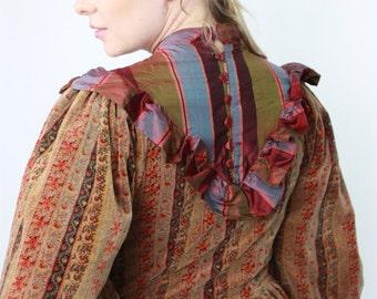 Velvet balloon sleeves dress, ruffle collar dress, victorian inspired, size medium, prairie dress,peasant dress, velvet dress,