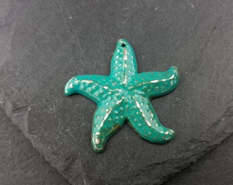 Large Starfish | Hand Painted | Turquoise Patina | Silver Tone