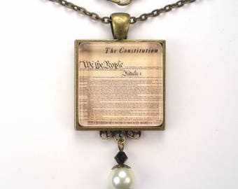 American Constitution Necklace USA Filigree Pendant Vintage Charm Silver or Bronze Graphic Art Handmade Jewelry by Charmedware