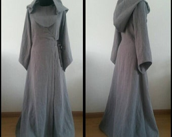 MADE TO ORDER:  grey linen pagan Avalon gown  with hood. dress druid historical priestess woodland fairy witch elvish