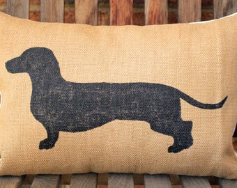 Hand Painted Burlap Daschund Pillow Cover