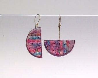 purple mismatched earrings for women, spring, summer geometric jewelry, statement earrings, modern art jewelry, polymer clay mosaic earrings