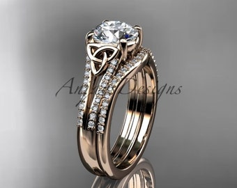 "14k rose gold celtic trinity knot engagement ring ,diamond wedding ring, engagment set with a ""Forever One"" Moissanite center stone CT7108S"
