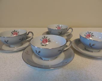 FOUR 4 Cups & Saucers Porcelain Tea or Coffee Seyei Fine China Japan 1950s Gray and Pink Romantic Table Wedding Table Tea Party