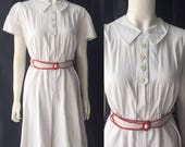 RESERVED 1940s white corded cotton dress