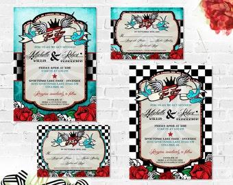 Rockabilly Wedding Invitations Set with RSVP Card Printable Wedding Suite Retro Checkered or Distressed Blue Vintage Elements Rocker Offbeat