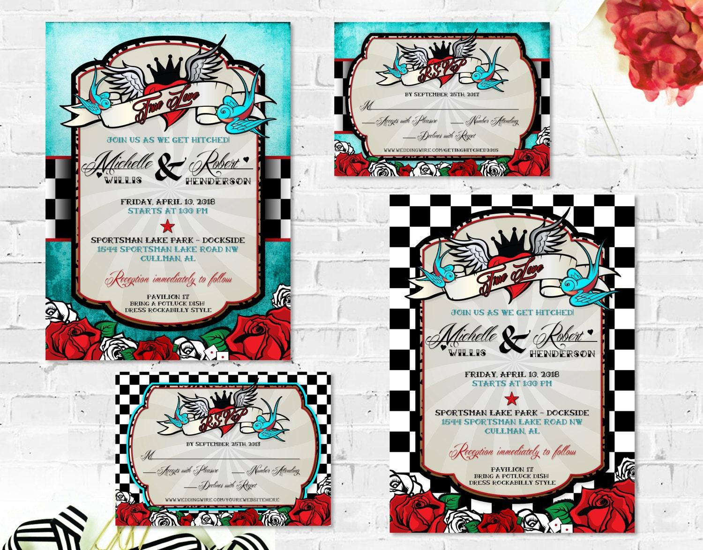 Rockabilly Wedding Invitations - Best Custom Invitation Template | PS Carrillo