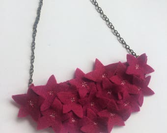 Flower Bouquet Statement Felt Necklace