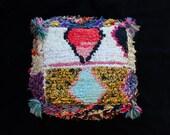 Vintage Moroccan Kids Pouf Kilim Footrest Pillowcase Floor Pillow Floor Cushion Rug Pouffe
