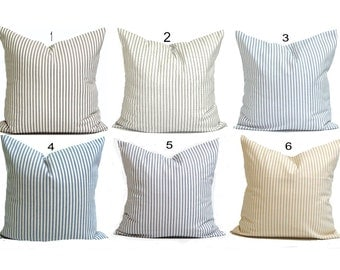 Ticking Stripe Pillow Covers, French Ticking Decorative Pillow, Throw Pillow, Cushion, All Sizes,Euro Sham,cm,French Country.Farmhouse Decor