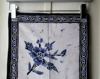 ON SALE Vintage indigo napkins, set of 6 hand-dyed batik napkins / indigo, black, & ecru hand sewn square dinner napkins