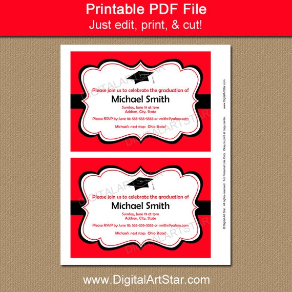 Printable Graduation Invitation Template Black Red High School – Printable Graduation Invitation Templates