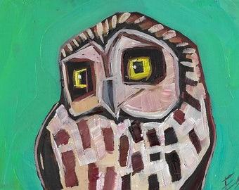 Little Owl on Green Original Oil Painting
