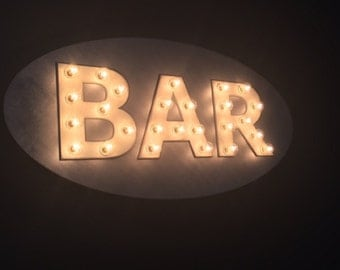 Large Custom BAR Vintage Inspired Marquee Lighted Wood Sign… Kitchen, Bar, Wedding, Anniversary Shower Gift