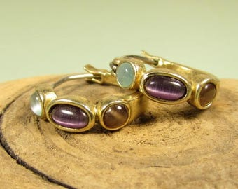 Multi Color Gemstone Hoop Earrings - Vintage Cat Eye Pierced