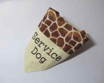 Service Dog - Dog Bandana - Over the Collar Style - Giraffe Pattern - Makes a Great Gift