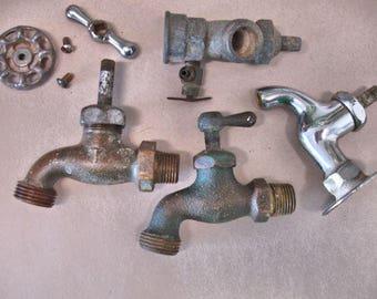 Lot of Vintage Faucets Spigots Plumbing Part 8 Pieces Brass Chrome