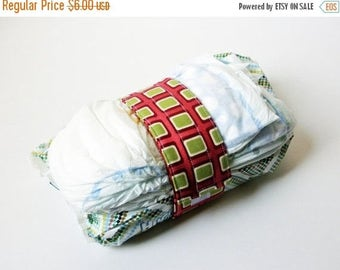FINAL CLEARANCE Clearance Green Square Diaper Strap - Burgundy with Lime Green Squares