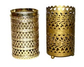 Vintage 70s 80s Lot of Two Gold Brass Metal Containers w/ Cut-Out Designs
