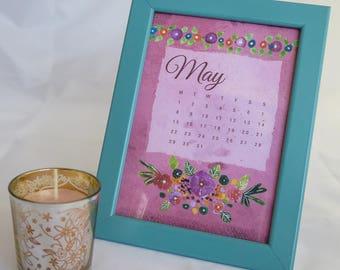 """May 2017 Calendar. 8""""x10"""" and 5""""x7"""". Printable art, Home decor."""