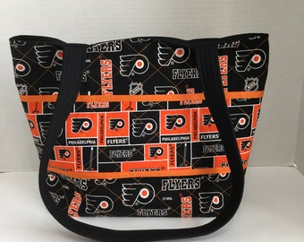 Quilted Purse - Quilted Tote - Flyers Tote - Shopping Bag - Beach Bag - Overnite Bag - NHL Tote  - Philadelphia Flyers - Diaper Bag