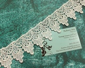 White Venise lace, 1 yard of  1 3/4 inch White venise lace trim for wedding, bridal, jewelry, couture by MarlenesAttic - Item 4YY
