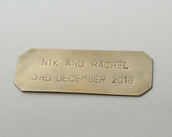 Personalized Nameplate, Brass Plaque, Copper Tag, Hand-Stamped Copper Plate, Custom Brass Name Tag, 2 lines Arial Font Caps (6 x 2.5 CM)