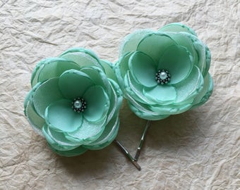 Mint fabric flower hair clip, hair accessories, Wedding flowers, bridesmaid shoe clip, pale green hair pin, brooch, sew on ornament