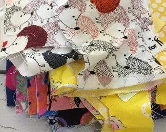 Destash, fabric scraps, quilting scraps, doll clothes