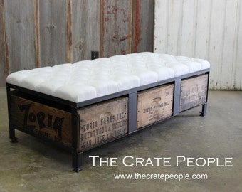 4 drawer storage bench vintage wood crates european grain for Wood crate bench