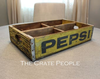 Yellow & Blue PEPSI Soda Crate with 4 dividers -- Vintage Soda Crate -- PEPSI Crate -- Soda Pop Crate