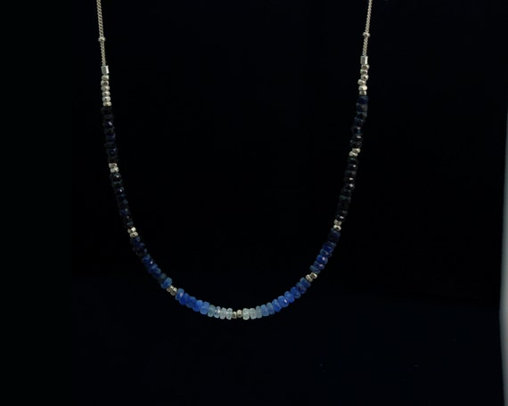Ombre Beaded Necklace. Shaded Sapphire, Emerald or Ruby. Gradient Gemstone Jewelry. Sterling Silver or Gold Fill. NS-2202-1