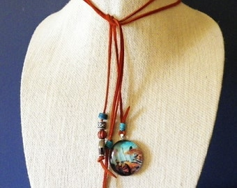 Southwestern Girl Leather Lariat Necklace with Bucking Horse in Canyonlands Glass Pendant; Turquoise and Southwest Colors. FREE US Shipping