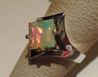 Ethiopian Opal Sterling Silver Ring Size 6
