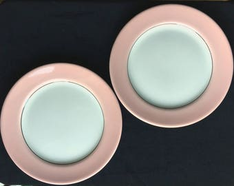 "Sterling China Restaurant Hotel Pink White 9-1/4"" Plates (Set of Two) in Good Condition"