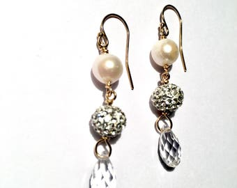 Stardust pearl and crystal drop Earrings available in gold or silver