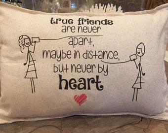 Friend Pillow, long distance, best friend, BFF, bestie, 12 x 18 inch lumbar - D