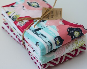 Oversized Baby Burp Cloths by JuteBaby - Raspberry & Teal
