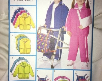 Clearance Special Needs Uncut Butterick 5974 PATTERN - Child Girls Boys VERY Loose Fitting Jacket, Vest, Top, Shorts, Pants, Bag Sizes 2-8