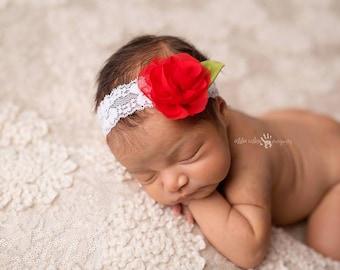 Read to Ship Baby Headband, Floral Headband, Infant Headband- Red Rose Floral Headband for Christmas on Lace