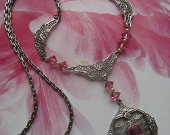 Vintage Deco 1930s Pink Crystal Filigree Necklace - Deco Filigree Jewelry - Bridal Jewelry - Gifts For Women - Romantic Vintage - Estate