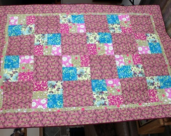 Homemade Patchwork Quilt - Pastel Quilt - Patchwork Quilt - Floral Pink and Yellow
