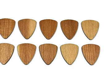 Set of 10 Wood Guitar Picks - 2017 Special! Hickory Wood -Flat Laser Cut Guitar Picks - Personalized custom engraving available!