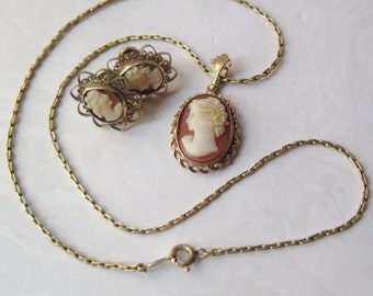 Cameo Carved Shell Necklace Earrings Set 12K Gold Filled GF Art Nouveau Edwardian 1950s Marked LF BAB Heirloom Mother's Day Wedding Trosseau