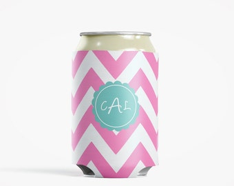 Bachelorette Party - Personalized Can Insulator Wedding Party Gift- Chevron