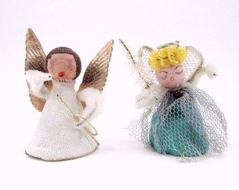 Vintage Spun Cotton And Paper Angels, Retro Christmas Holiday Ornaments, Decorations 1950s
