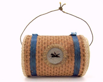 Vintage Cardboard And Dresden Wicker Basket Candy Container Christmas Ornament Christmas Decoration